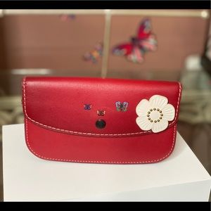Coach 1941 red leather clutch wallet